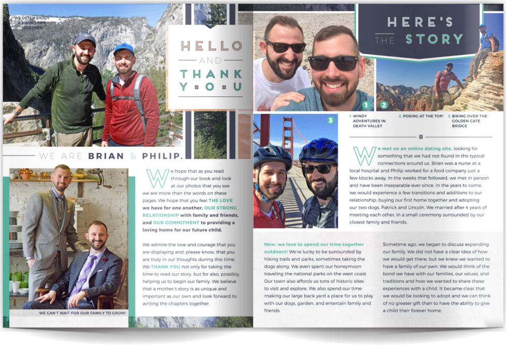 PAGE LAYOUT STYLE 3 - Sleek, modern, and utterly amazing. These gents loved the super-clean layout that doesn't feel busy while it showcases their great photos. Lots of white space on the page makes this layout easy to read and shares a clean style without feeling corporate.