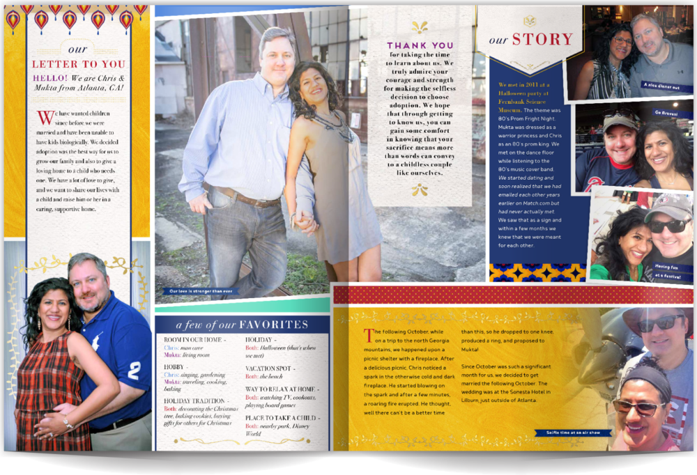 PAGE LAYOUT STYLE 5 - Style should always be reflective of your personalities and other essential parts of your story. This profile layout pulls in graphics and colors that share this great couple's unique cultural backgrounds. A lot of fun photo elements (cutouts, fading photos, and polaroid styles) and rich colors help create a dynamic design.
