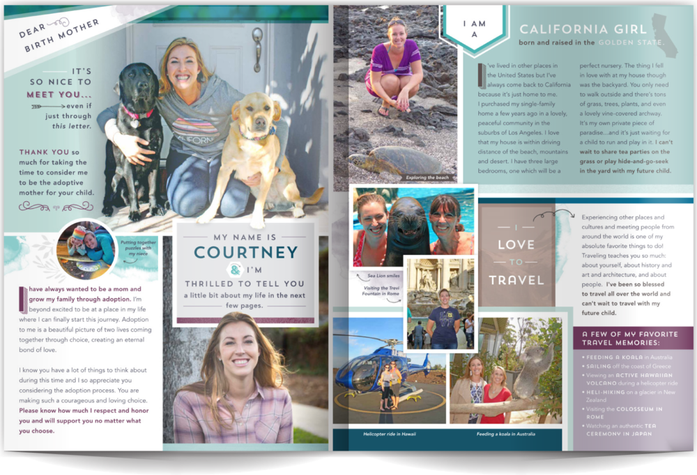 PAGE LAYOUT STYLE 8 - We needed to create a layout to match her amazing smile! This layout is neatly ordered but still playful, incredibly fun and engaging! A few hand-drawn elements are blended with light watercolor color washes to keep the reader's eye moving around the page.