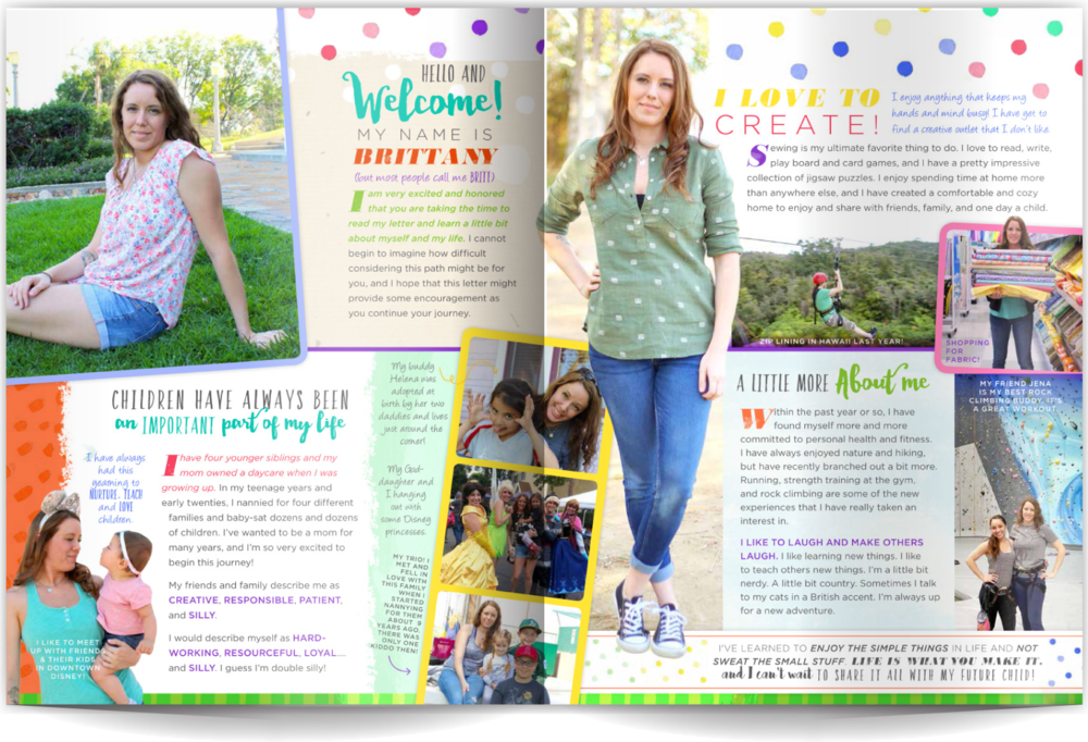 PAGE LAYOUT STYLE 13 - It can be hard to make a layout that's super-creative and fun that doesn't feel busy or overdone. This layout does just that! Our client is a designer herself and wanted a profile that fit her spunky style- and this is a home-run! The trick is pairing modern styles and fonts with fun elements like polkadots and pattern galore.