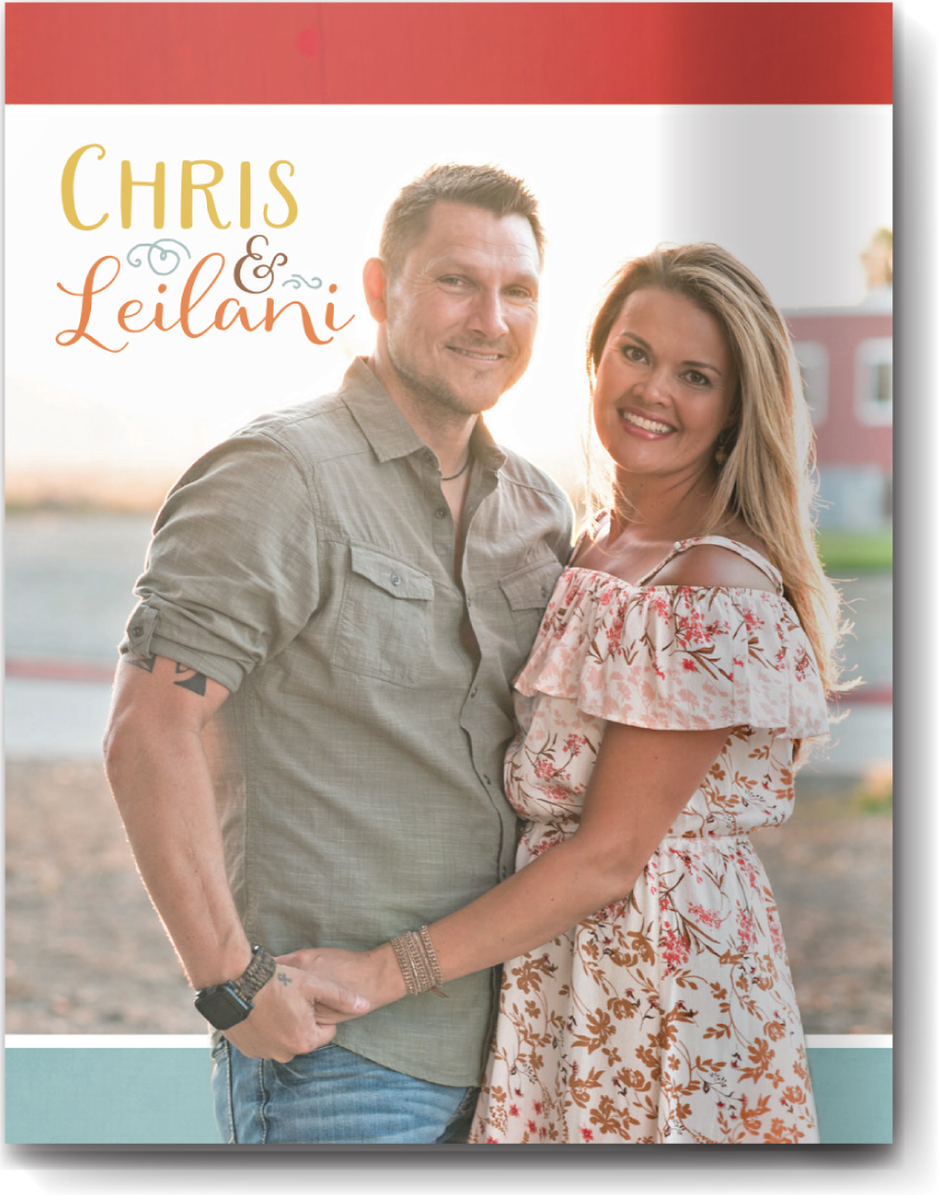 Cover page style 1 - This cover style is almost a full-bleed photo. The color bands at the top and bottom add a nice pop. The names are also incorporated into the photo for a cohesive look.