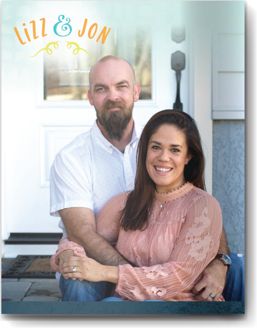 Cover page style 13 - I love a cover photo taken on your front porch. There's something so welcoming and inviting about it... but of course what do you do with the glare from the window? What you see as a problem we see as an opportunity for a great place to add your names.