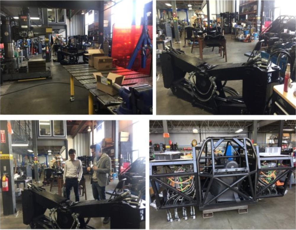 图1:工厂一角;图2:机器人的腿部;图3:Matt正在为林理事长解说机器人腿部构造;图4:驾驶舱