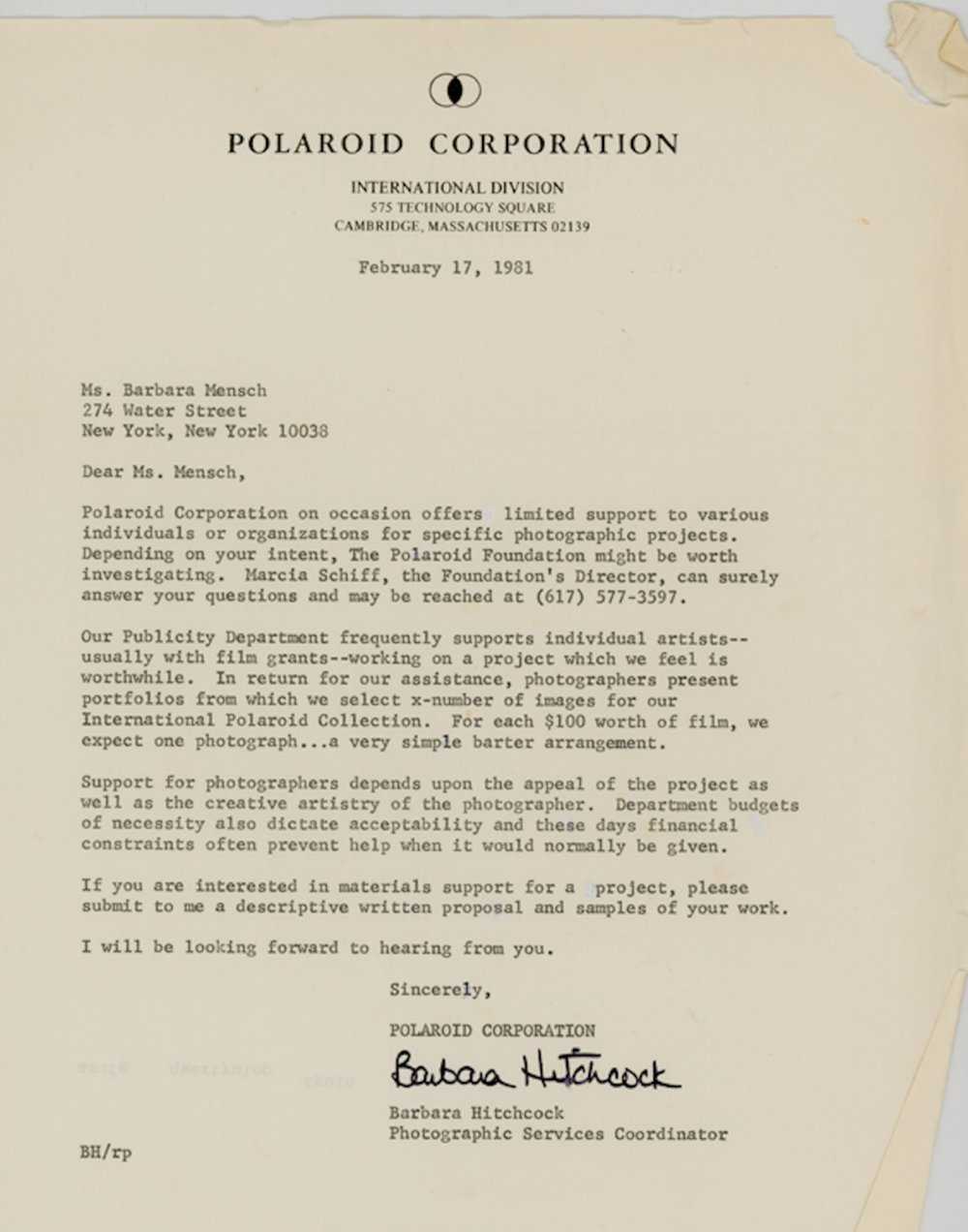Letter from Polaroid Corporation