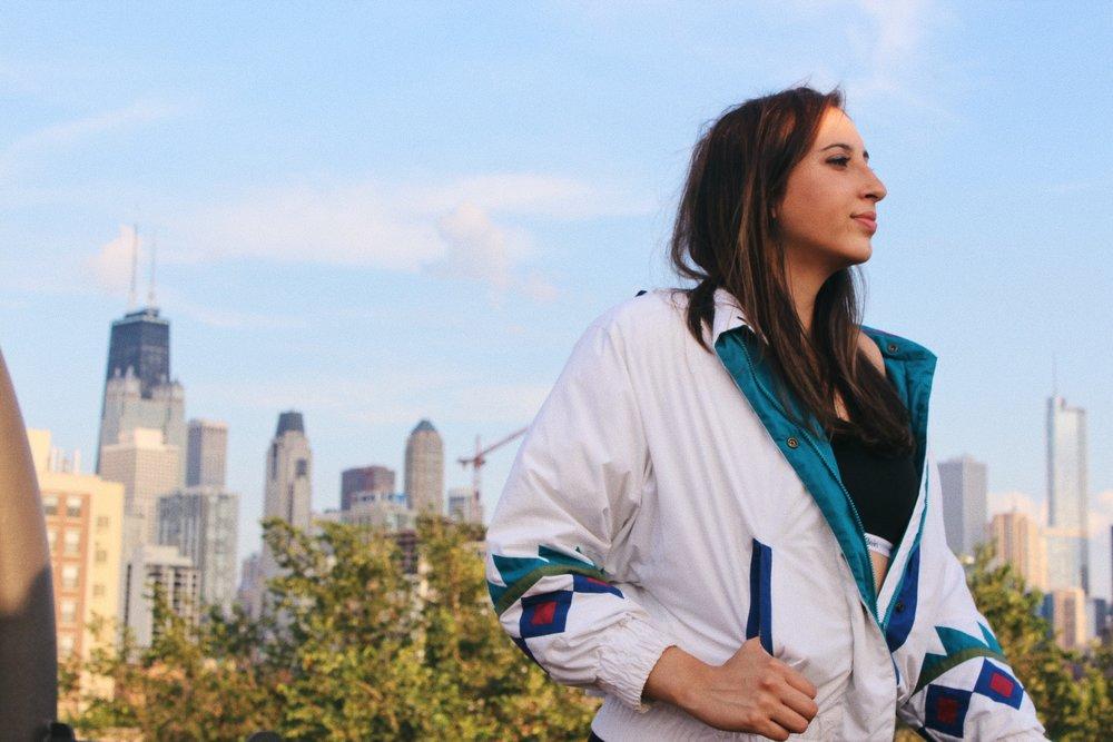 Amanda wears vintage London Fog jacket,  @vtgindy ; Carousel Bralette,  Calvin Klein .