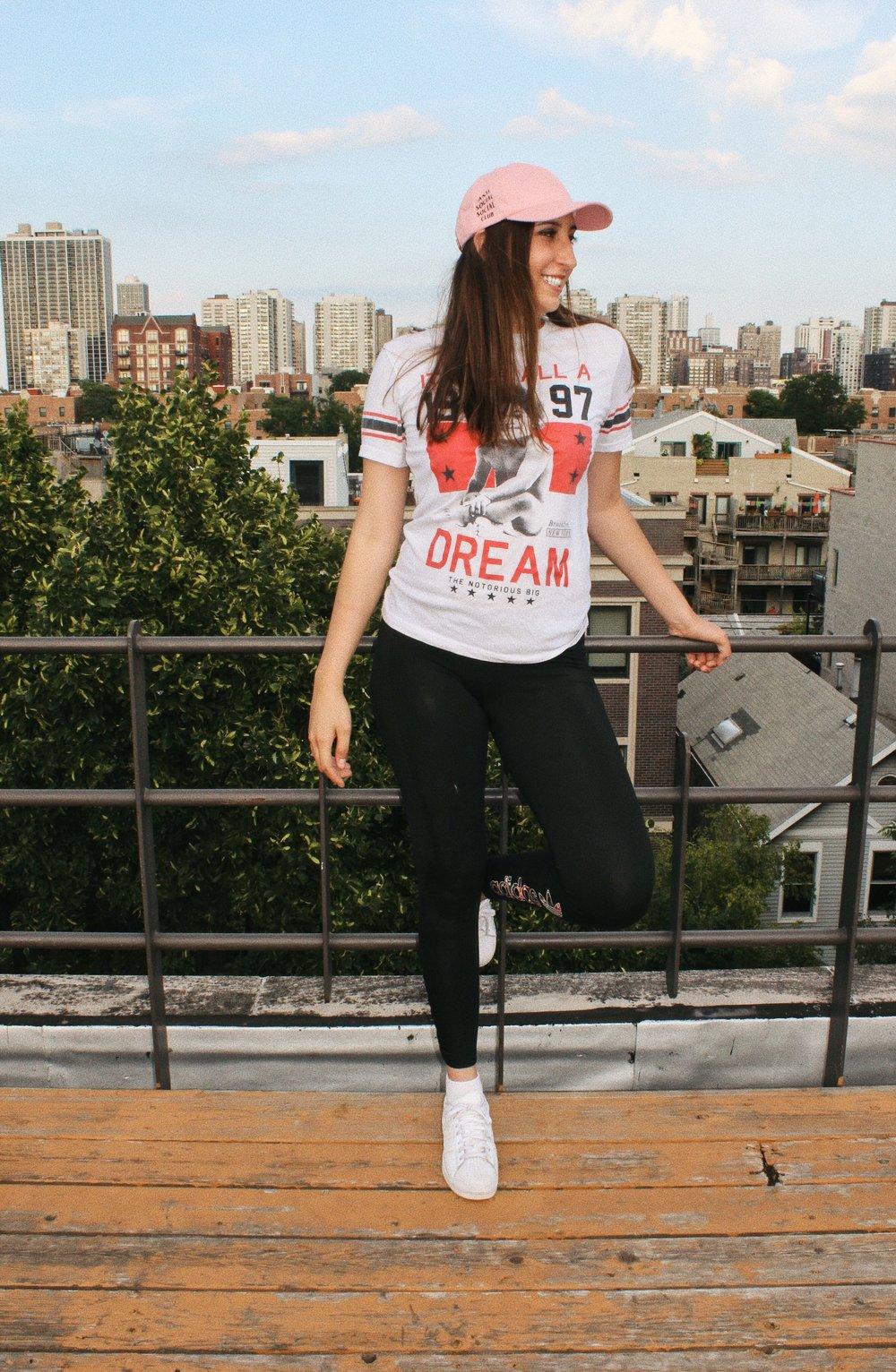 Amanda wears Weird Cap,  Anti Social Social Club ; Biggie t-shirt,  @vtgindy ; leggings,  Adidas ; Superstar Sneaker,  Adidas .