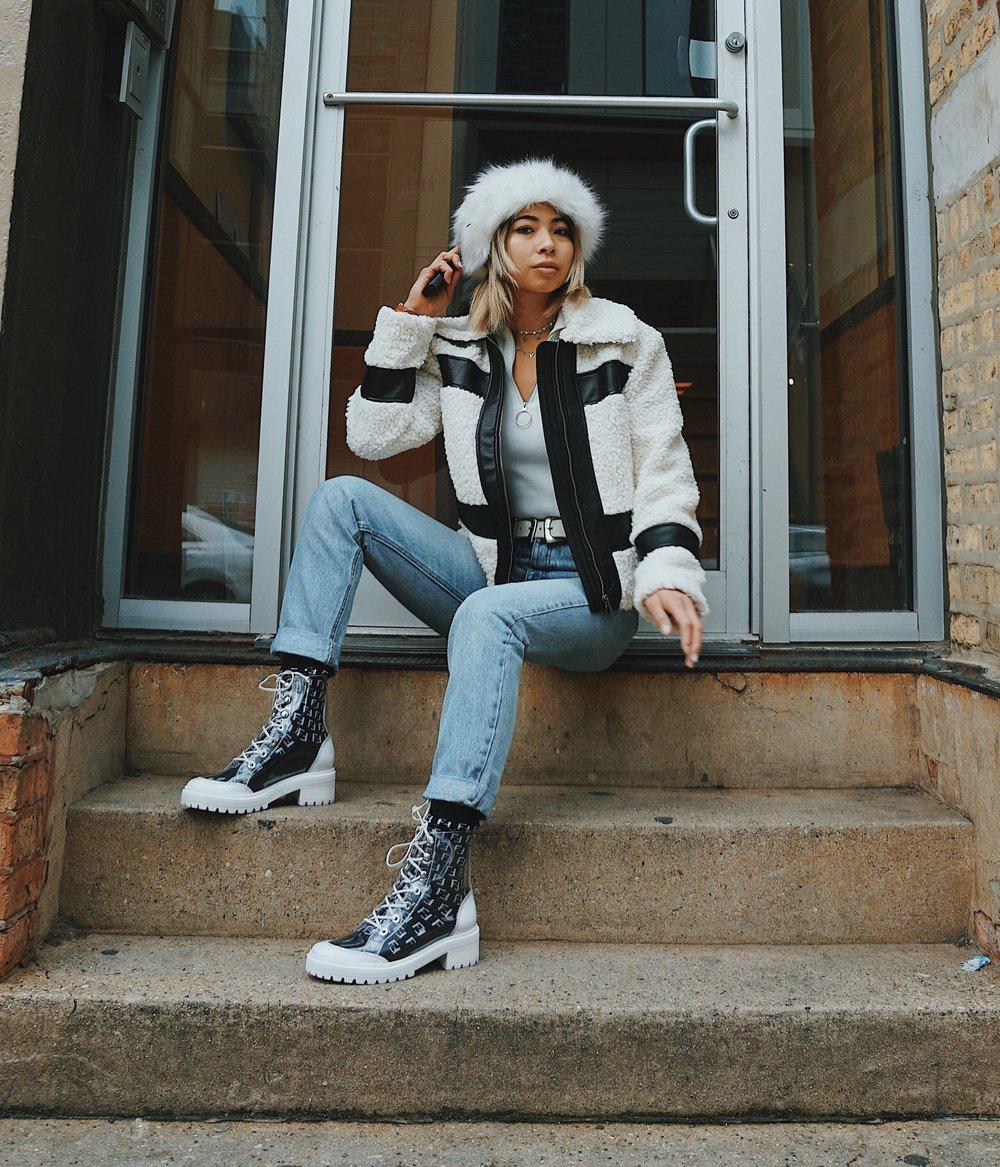 Ginger wears S-Elisangela Lace Up Vinyl Booties,  Schutz Shoes .