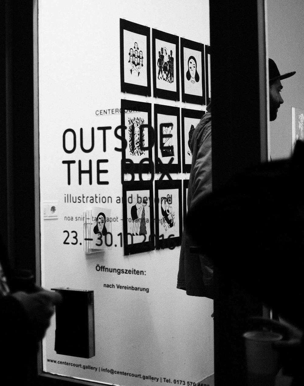- »OUTSIDE THE BOX – Illustration and beyond«Tal Granot, Rosanna Merklin und Noa Snir22.10.–11.11.2016super+CENTERCOURTAdalbertstraße 44, 80799 München