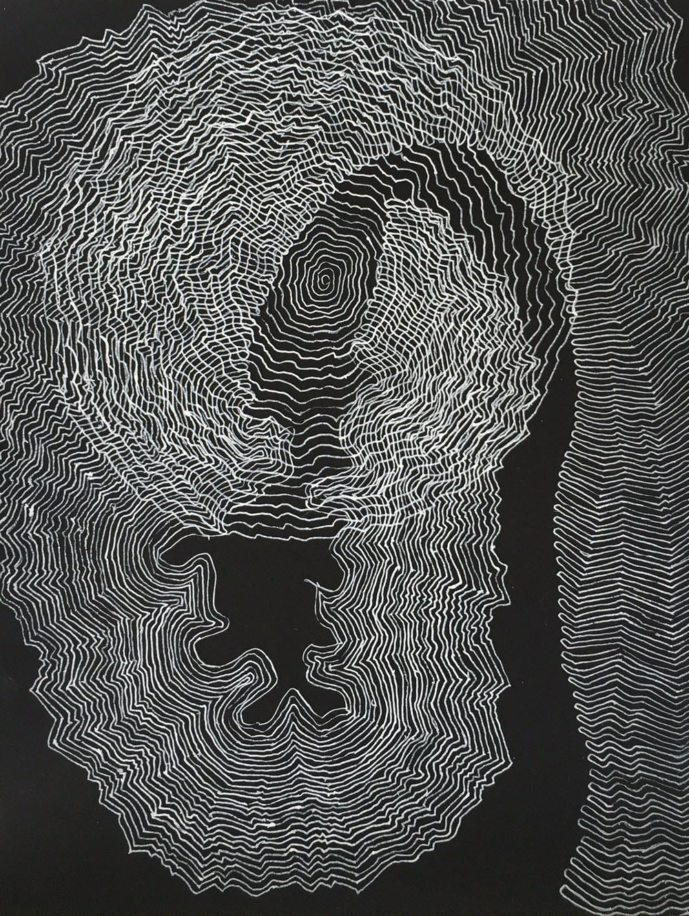Nightlines 2   12 x 9 inches  Ink on black cardboard   2015