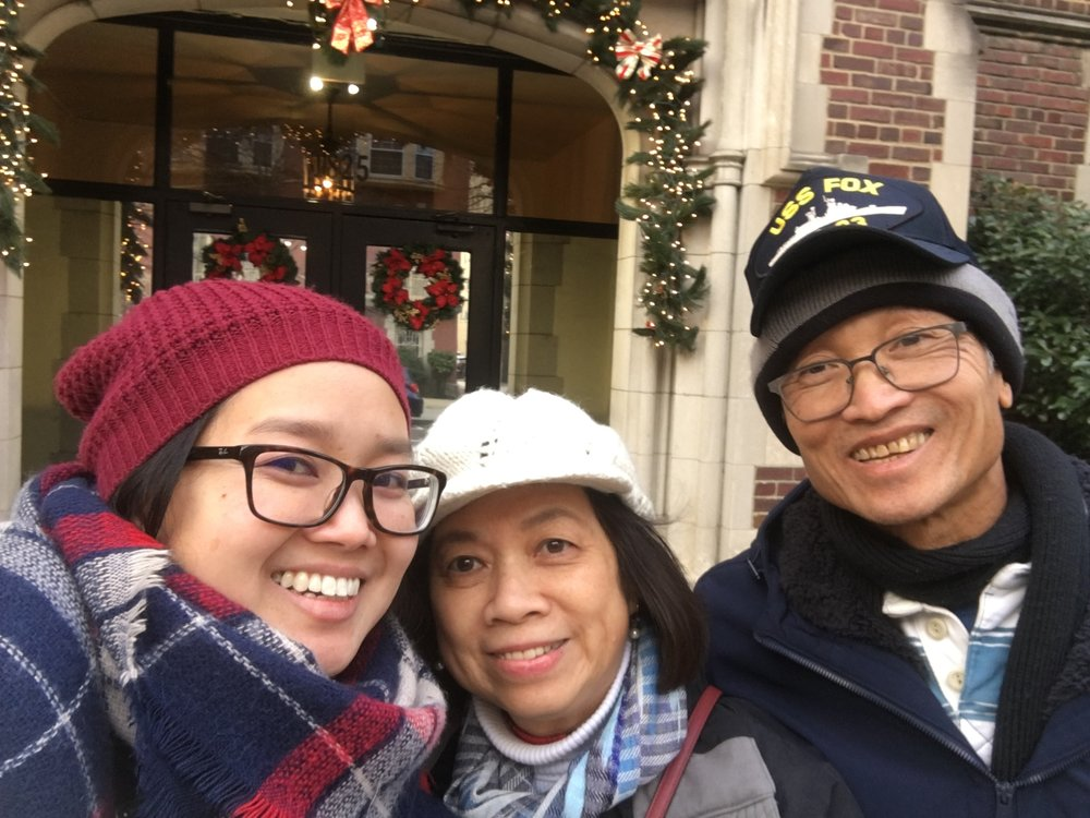 Catherine with her parents on their visit to D.C. in December