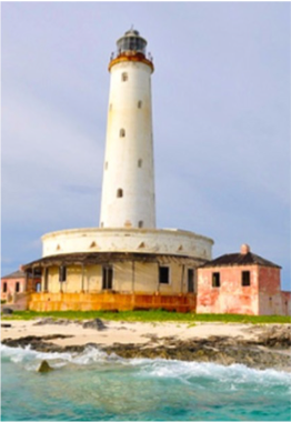 BIRD ROCK LIGHTHOUSE   Located at the northwestern point of Crooked Island, on a cay just off Pittstown Point, this 1876 town house stands proudly at 112 feet above sea level, and serves as a beacon to the northern entrance of the much travelled Crookes Island Passage. Legend has it that Columbus anchored there for a while on his arrival in The Bahamas.