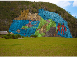 MURAL OF PRE HISTORY   Found on one of the sides of a mogote in Viñales Valley, this 80 meter-high and 120 meter-wide mural was created by artist Leovigildo Gonzales, with the assistance of a group of farmers, and is a testimony to the valley's bio-geological evolution. Take a hike up the mogote to enjoy the stunning panoramic views over the Viñales Valley.