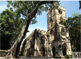 ST JOHN'S PARISH CHURCH    The current structure of the church was built in 1846 to replace the original structure that was destroyed by the 1831 hurricane. The solid Gothic church contrasts with the serene grounds and cliff-edge views that surround it.