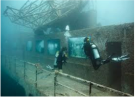 SS STAVRONIKITA    Lying in 120 feet of water, this 365 feet Greek freighter is a wreck that was purposely sunk to create an artificial reef that is now home to an abundant marine life of fish and corals. The bow can be reached at a depth of 70 feet and the stern at a hundred feet.