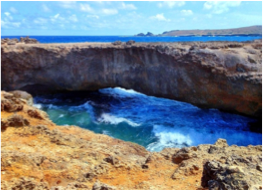NATURAL BRIDGES   Thousands of years-worth of powerful waves and strong winds painstakingly chiselling away at its north coast's limestone cliffs, to create Aruba's impressive natural bridges. Its most famous one, located between the Bushiribana gold mine ruins and Andicuri Beach, collapsed in 2005, but still attracts visitors who also come to see the intact Baby Bridge nearby.