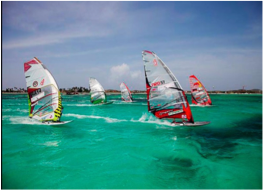 WINDSURFING & KITESURFING   Travellers in search of adrenaline will find their thrill in the island's constant trade winds which, along with soft sandy beaches, shallow blue waters and great weather, make of Aruba the ideal place for all levels of wind surfers and kite surfers, all year round. Novice windsurfers will enjoy the shallow waters at the Fisherman's Huts.