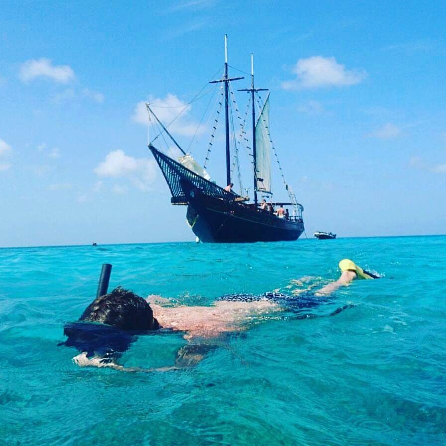 SNORKELLING   Aruba's most popular Snorkel and Sunset Cruises are aboard the Teak Schooners, Jolly Pirates. The Jolly Pirates talented crew will perform back flips, literally to keep their guests returning year after year. And... you can go on a pirate ship!