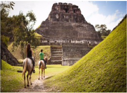 HORSEBACK RIDING    Belize's hidden gems are often best accessed by foot, and horseback riding is a fun alternative to exploring the natural beauties tucked in the country's lush vegetation. You will find many tour operators and even resorts organising horseback riding trips through the jungle or to Mayan sites such as Cahal Pech, El Pilar, or Xunantunich.