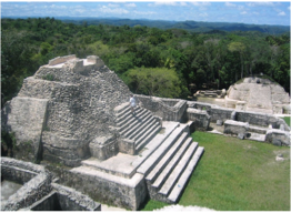 CARACOL    Located at the heart of the Chiquibul Forest Reserve, in the Cayo District's Maya Mountains, this site impresses not only by its size (25,000 acres), but also by its complex city planning, acoustics-conscious plaza, and agricultural field system.