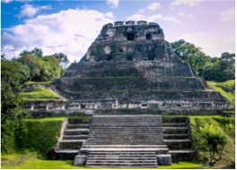 XUNANTUNICH    Located in the Cayo District, atop a hill overlooking the Mopan River, this major ceremonial site was built on a natural limestone ridge during the Classic Period, and is composed of more than 25 temples and palaces, gathered around four plazas.