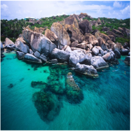 THE BATHS   (VIRGIN GORDA)   The Baths is a collection of smooth, granite boulders which form maze-like caves...  More