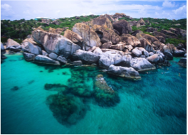 THE BATHS (VIRGIN GORDA)   This 7 acres-large park is composed of a collection of smooth, granite boulders forming maze-like caves, tunnels, sheltered grottos and warm pools that flow into the sea at high tide. To get here, you'll have to hop on a ferry or ride the taxi boat, but it's a great snorkelling spot and popular for yachts to anchor.