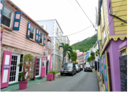 MAIN STREET      Road Town's main shopping district is also home to several historic landmarks such as the mid 1800s Post Office, the Britannic Hall, St George's Anglican Church, and the Virgin Islands' Folk Museum.