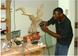CHEDDIES CARVING STUDIO   An internationally acclaimed sculptor specialised in driftwood, walnut and mahogany, Cheddie Richardson's creations range from birds, dolphins and fish to human beings. Located on Albert Hughes Drive.
