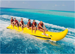 BANANA BOATING    A fun way to enjoy the waters with your friends and loved ones, where the driver tends to make the boat flip by taking unexpected turns.