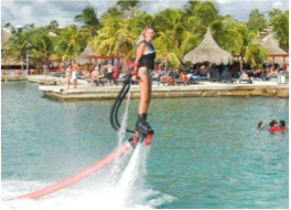 ZAPATA FLYBOARD    If you're after some new adrenaline-fuelled sensations, then give the Flyboard a go, and learn how to fly above the waters and dive like a dolphin.