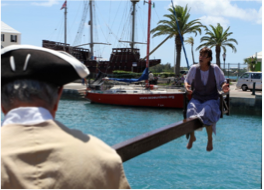 THE DUCKING STOOL   Based on Bermuda's history, this entertaining re-enactment shares the island's past traditions of public punishment in the 17th and 18th century.