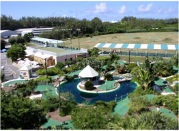 BERMUDA GOLF ACADEMY   The Golf Academy features a 300-yard driving range, an 18-hole practice chipping and putting green with night lighting until 10pm, 35 practice bays (including 25 covered), and a clubs and balls rental service. Furthermore, the 18-hole mini golf course makes it a fun destination for players of all ages and all levels. Located on Industrial Park Road, Southampton.