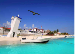 PUERTO MORELOS   A 35 km trip South of Cancun is enough to escape the glitzy resorts and shopping centres for a more laidback and authentic feeling. Puerto Morelos is a small fishing village where white sand and turquoise water greet you in an atmosphere where relaxation is all that matters.