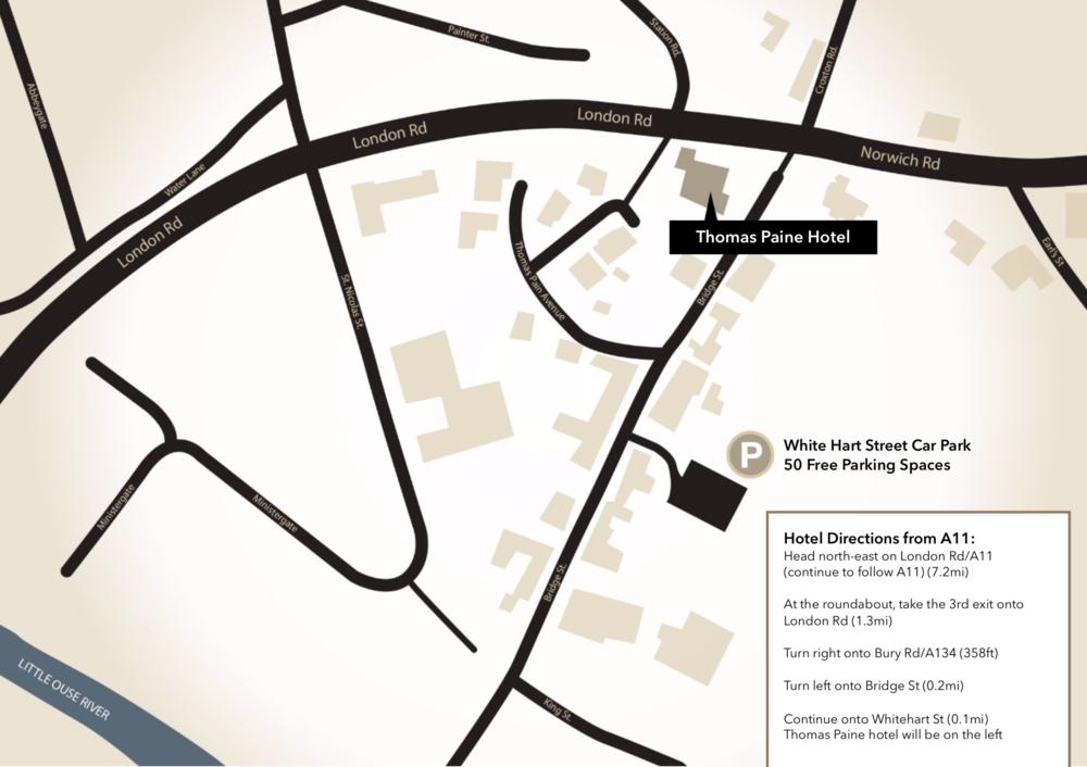 Map to the Thomas Paine Hotel Thetford