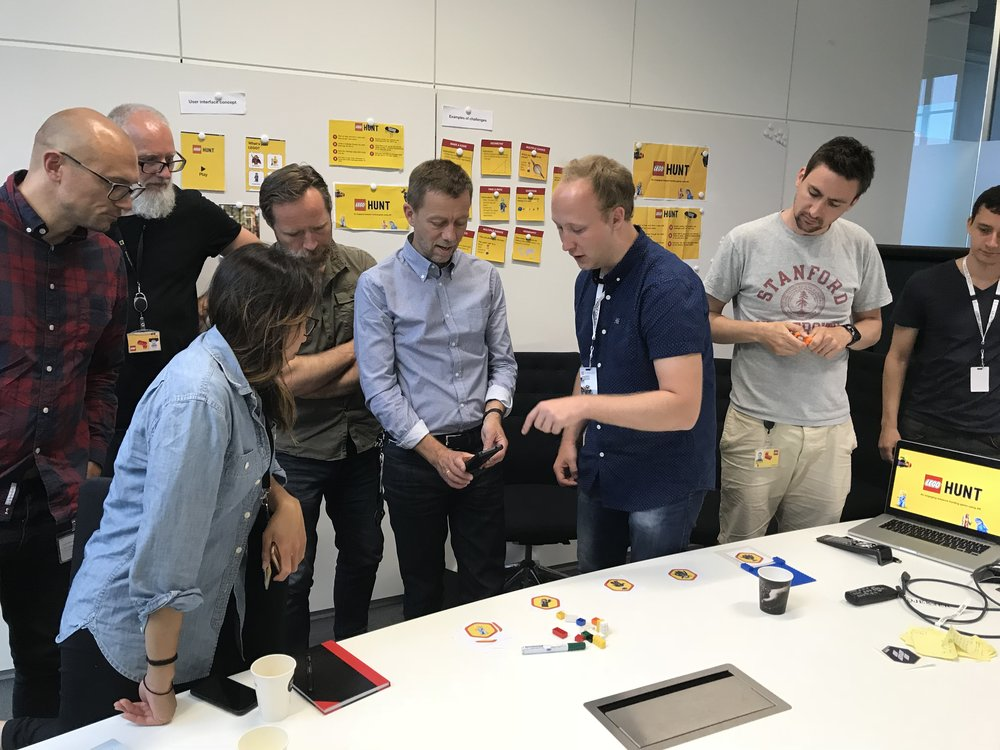 Nicolai demonstrating our prototype to Vice-President for Front-End Innovation at LEGO Education, Henrik Nonnemann.
