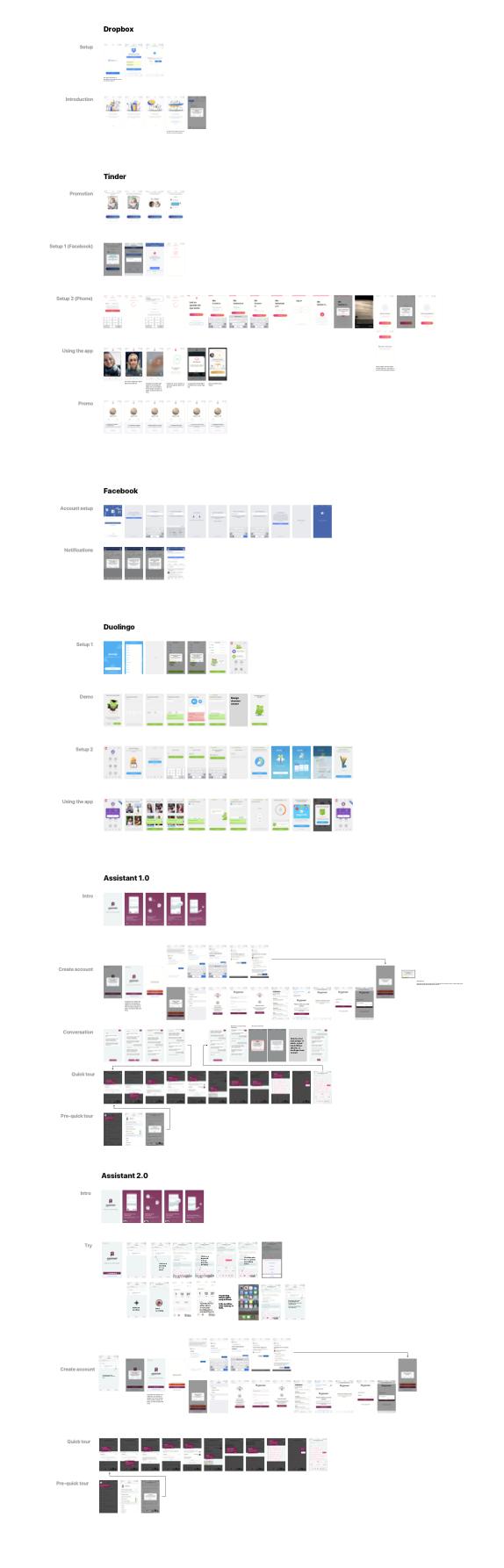 Billedet er lidt svært at se, når det er så småt, men basically er det screenshots af alle skærme inden man kommer direkte ind i appen for hhv. Tinder, Duolingo, Facebook, Dropbox og så med sammenligning til vores app.