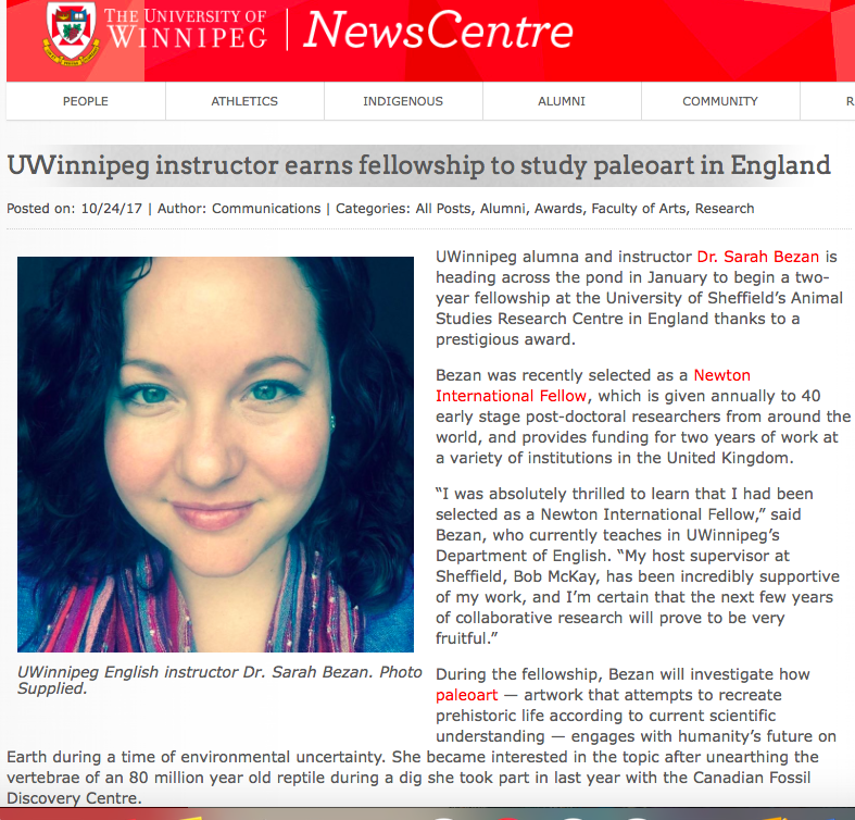 October 24th, 2017.  http://news-centre.uwinnipeg.ca/all-posts/uwinnipeg-instructor-earns-fellowship-to-study-paleoart-in-england/