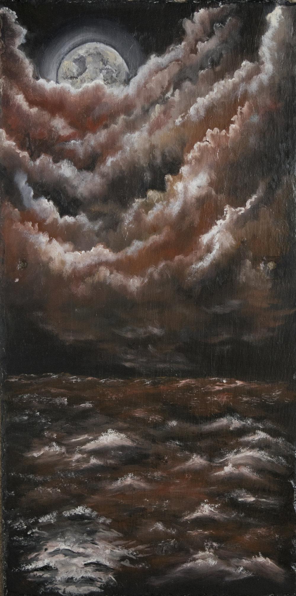 "Untitled (Ocean Scene)   24"" x 12""  Oil on Slate  2017"