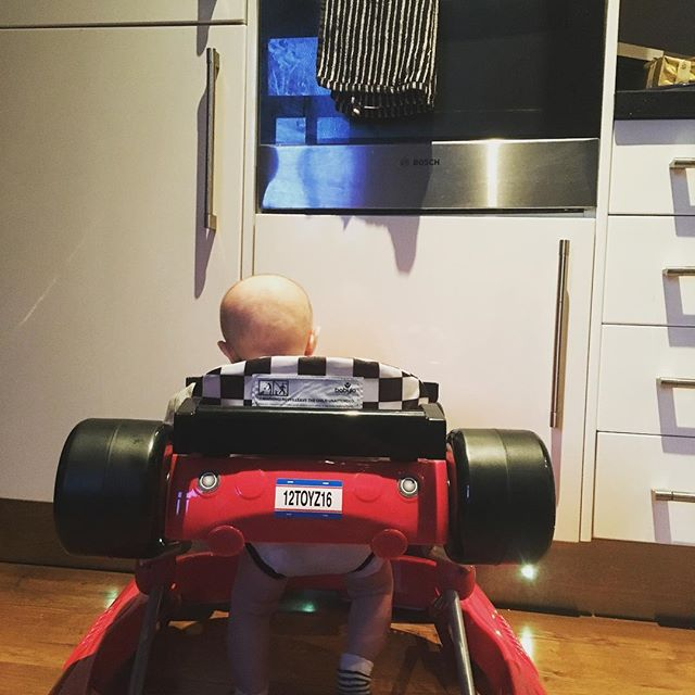 I'll just park the car in front of the food dispenser thing for a quick pit stop. #f1 #racingcar #babydriver #racing #cars #bloke #manstuff #lewishamilton #jensenbutton #fridge #lovehim #racingdriver #paisleystuartperrybrookes
