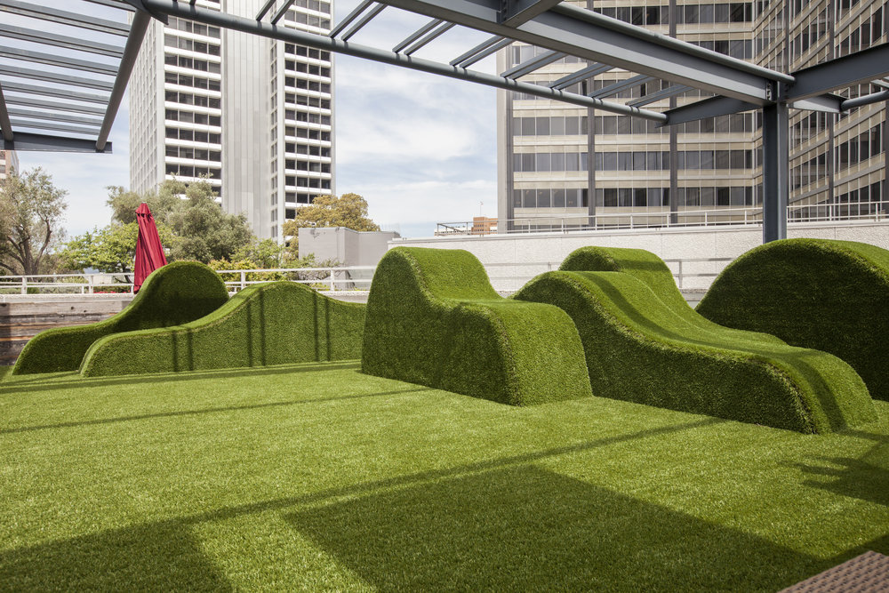 We used the same astro-turf for our grass hills as we did for the ground, creating a seemless feel of lush areas to relax on.
