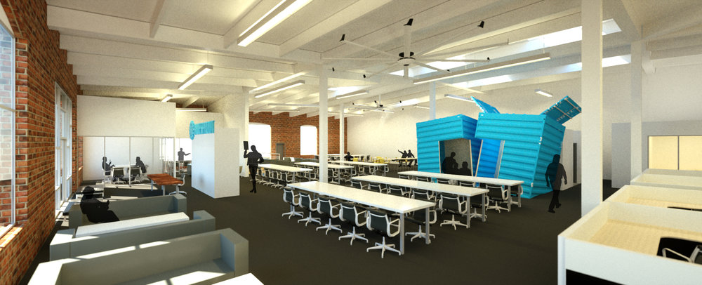 Initial schemes for this industrial co-working space.