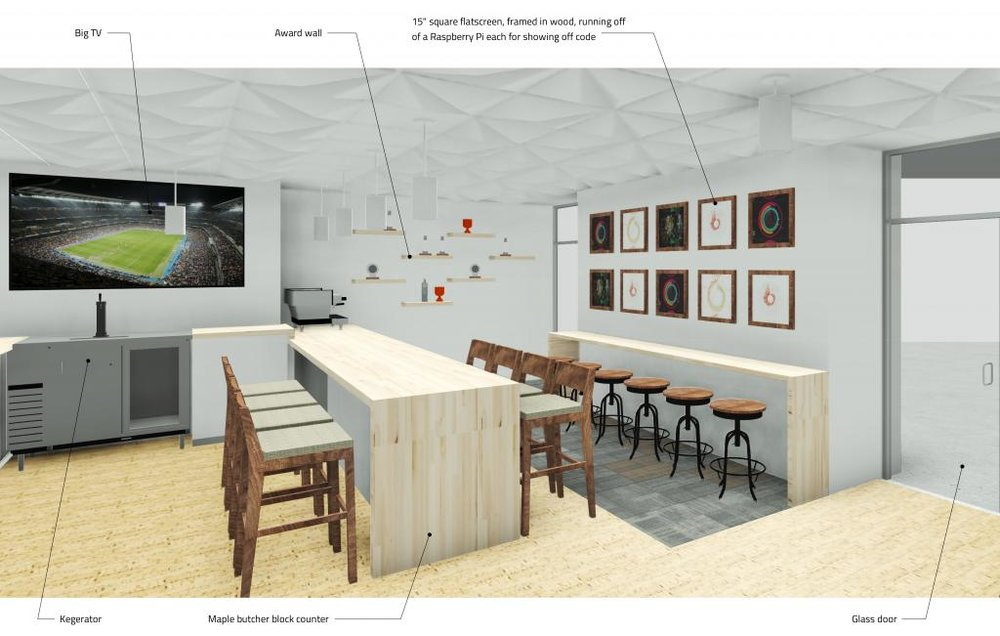 In this design for the staff lounge we proposed a counter table for coding competitions. The framed displays on the wall show can be accessed to show off the live code.