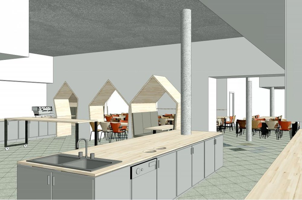 The kitchen break room and cafeteria: now with configurable tables, an accessible bar, and a view of the fun peaked booth nooks.