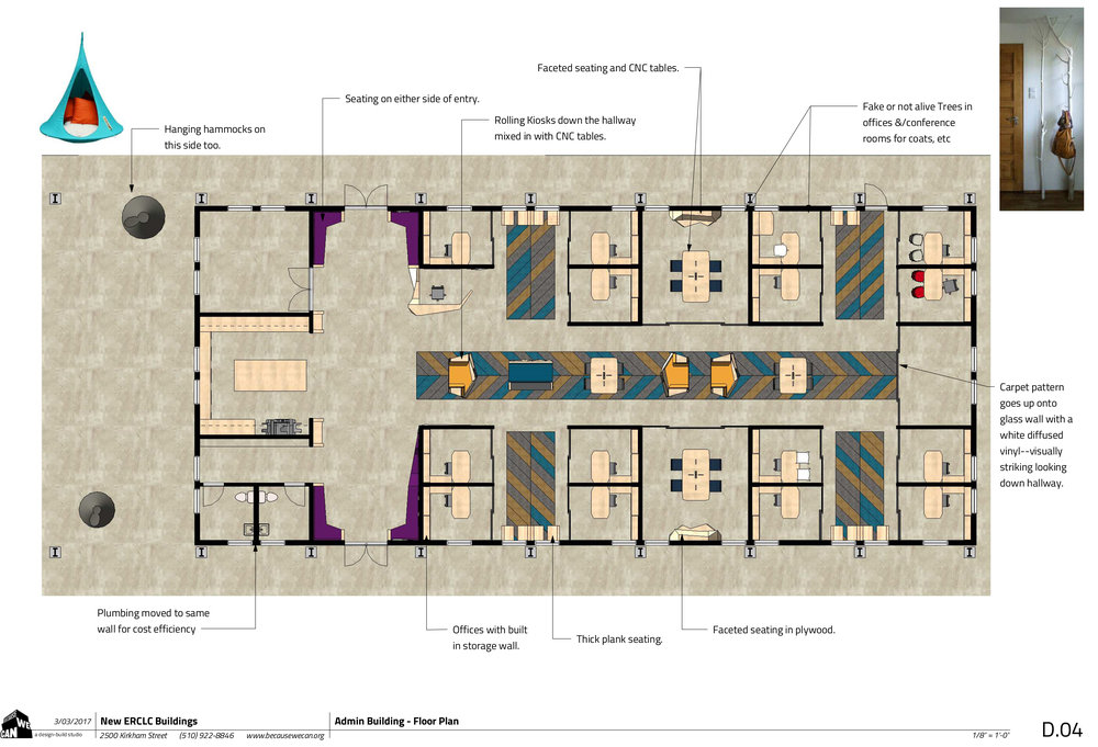 The administrative building layout offers teachers the much-needed private work space, and spacious meeting rooms.