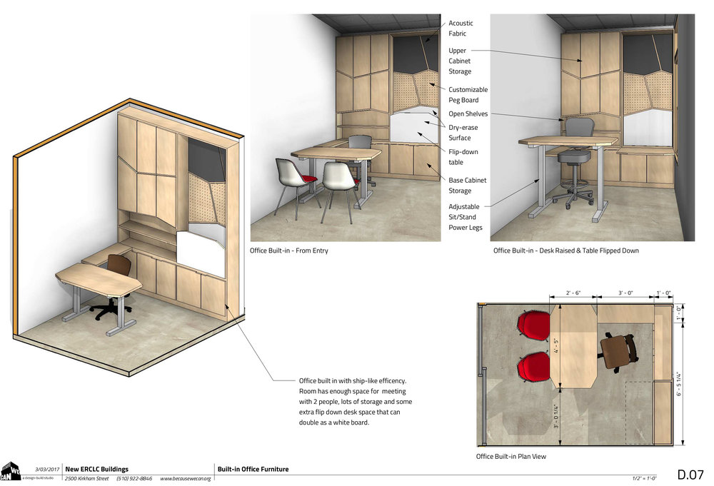 Teachers' individual offices take their design layout inspiration from a ship-themed office that we enjoyed building. Fold down desks and multi-use surfaces are key in a small space.