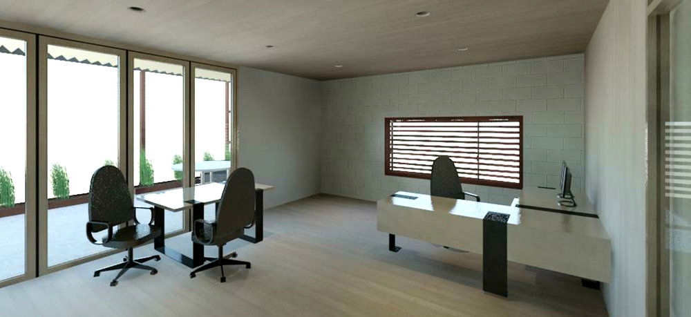 The office spaces are open and airy with outside overhangs for shade and natural light allowances in this hot desert climate.