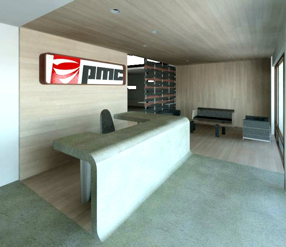 We used concrete and wood to wrap the interior reception area, referencing the industrial work that this companies provides.