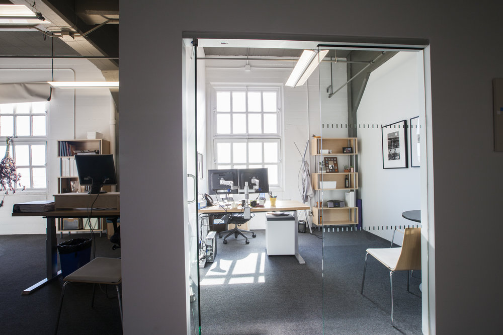 The private offices capture at least one window, making them bright & relaxing places to work.