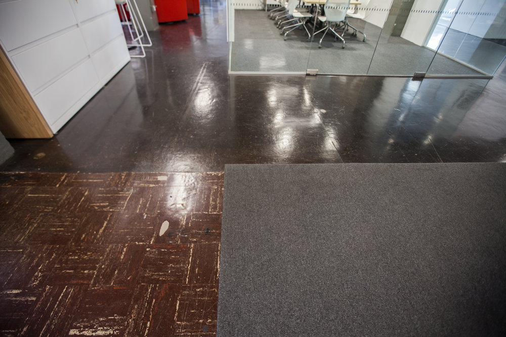 Revealing different eras of flooring, we decided to celebrate these historic moments by restoring what we could, leaving what was there and adding some areas of simple carpeting to break up the space.