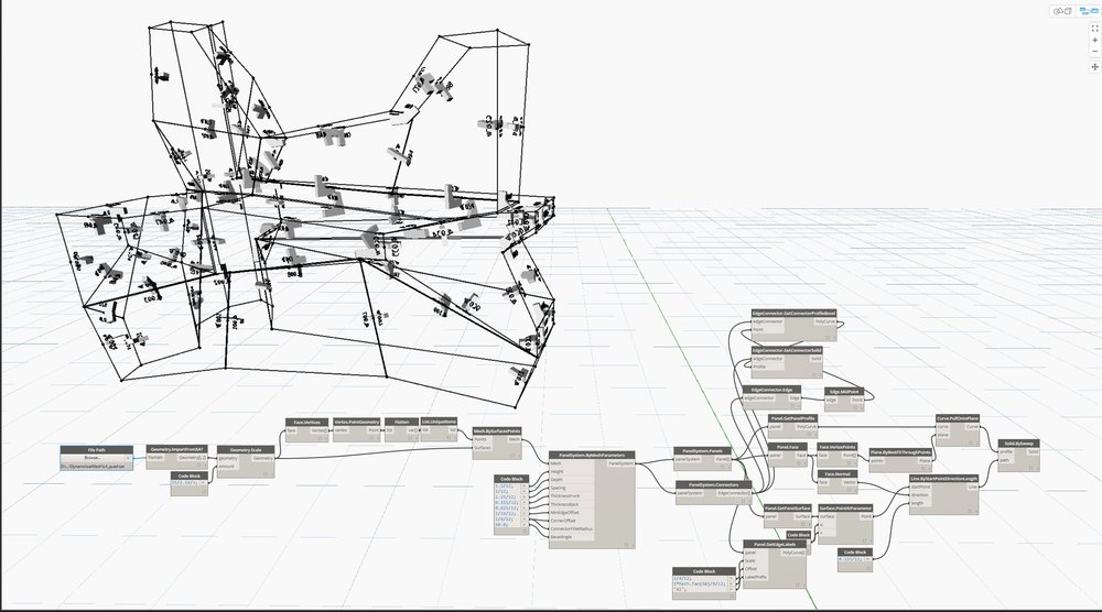 "We created a script in-house to be able to make these ""Iceberg"" shapes quickly and within budget. Sending the forms through the script, the panel separation and fastener placement became automated."